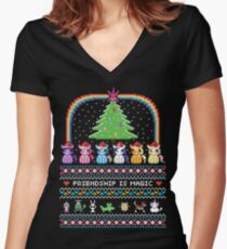 Happy Hearth's Warming Sweater Women's Fitted V-Neck T-Shirt