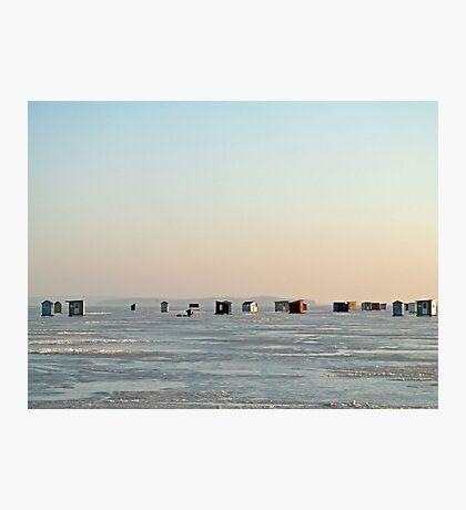 Ice Huts On Rice Lake Photographic Print