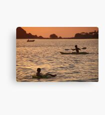 Kayak and Inflatable Ring at Sunset Palolem Canvas Print