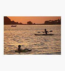 Kayak and Inflatable Ring at Sunset Palolem Photographic Print