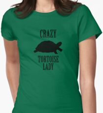 Crazy Tortoise Lady (Black) Women's Fitted T-Shirt