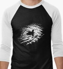Coot, silhouette as swimming on a pond Men's Baseball ¾ T-Shirt