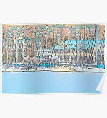 Docked Sail Boats Poster