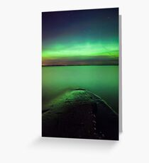 Northern lights glow over lake Greeting Card