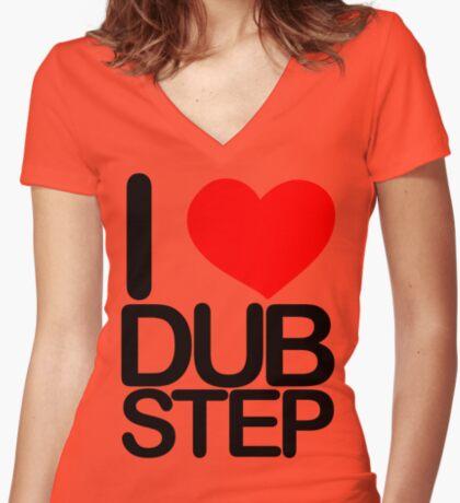 I love dubstep (dark)  Women's Fitted V-Neck T-Shirt