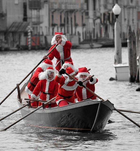 Santa's on a Venetian Gondola !!  (2) by Helen J Cherry