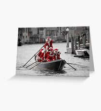 Santa's on a Venetian Gondola !!  (2) Greeting Card