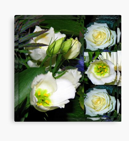 White Flowers Collage in Mirrored Frame Leinwanddruck