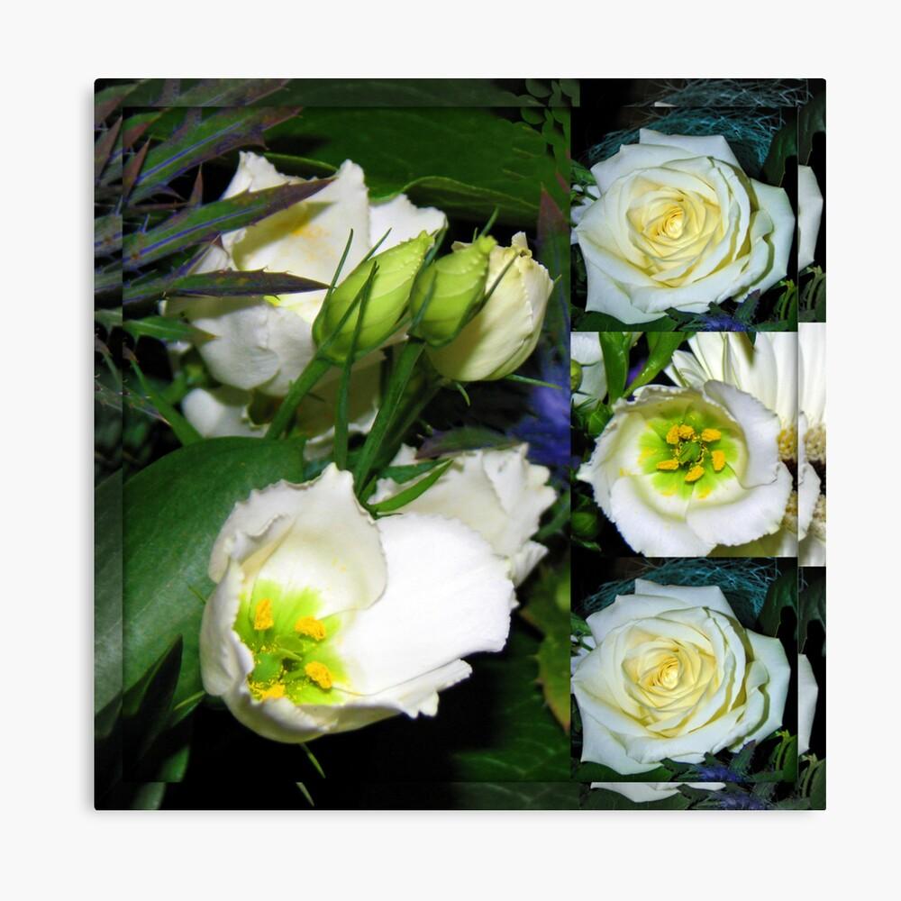 White Flowers Collage in Mirrored Frame Leinwanddruck