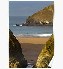 Cornish Seascape of Holywell Bay Poster