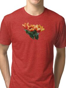 Three Orange and Red Tulips Tri-blend T-Shirt