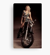 Blond Biker Canvas Print