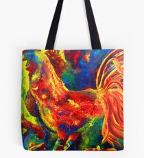 Colorful Rooster and Baby Chick Tote Bag