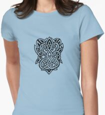 Bracer Knot A - Celtic Knotwork - Black Womens Fitted T-Shirt