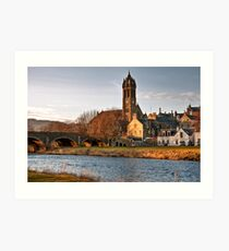 Peebles Old Parish Church by the River Tweed Art Print