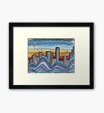 Clouds, Water, City. Framed Print