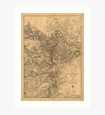 Military Map of N.E. Virginia Showing Forts and Roads (1865) Art Print