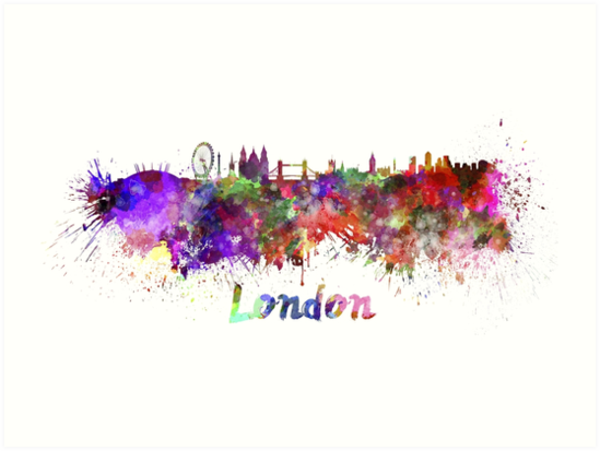london watercolor word with skyline art prints by crospa91 redbubble