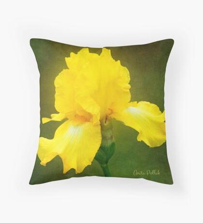 Painted Yellow Iris Throw Pillow