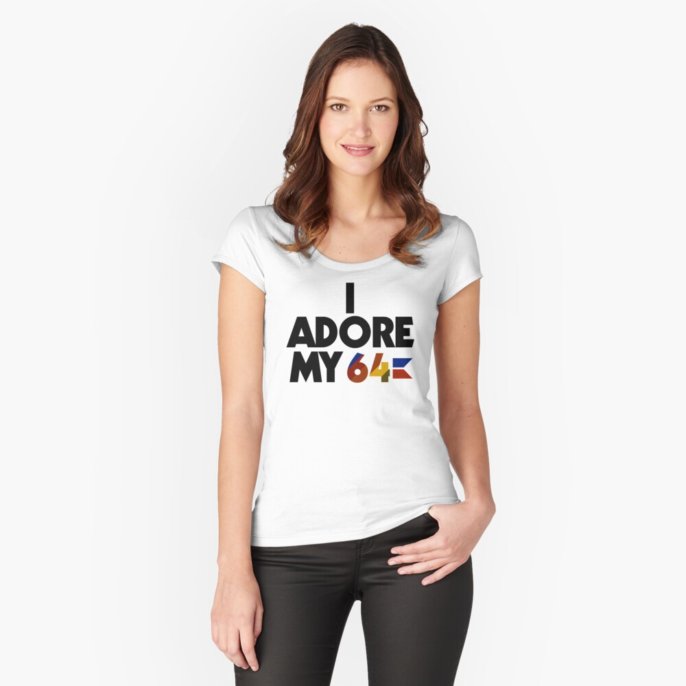 I Adore My 64 (Black) Women's Fitted Scoop T-Shirt Front