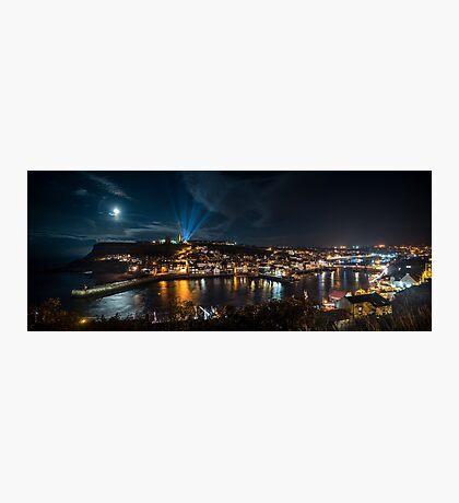Whitby at Night Panoramic Photographic Print