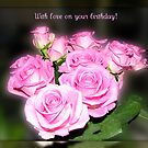 Dreamy Pink Roses Birthday Card by BlueMoonRose