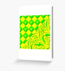 Green and Yellow Butterfly Design Greeting Card