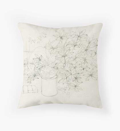 Begonia and Rhododendron Throw Pillow