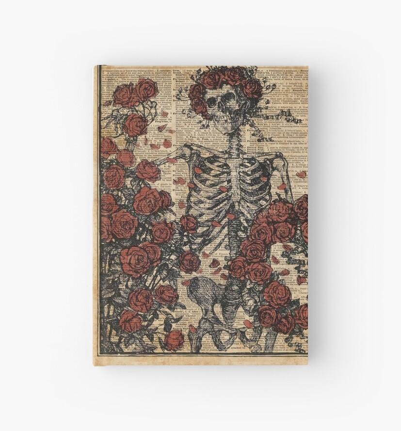 Skeleton art, skeleton with roses book art,human anatomy by DictionaryArt