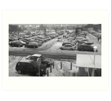 Snowy carpark Art Print