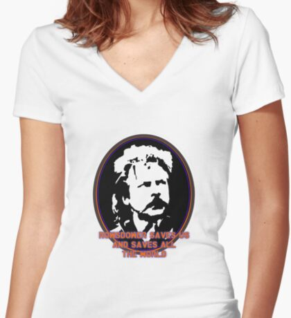Rowsdower Saves Us and Saves All The World Women's Fitted V-Neck T-Shirt