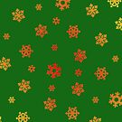 Snowflakes (Red & Gold on Green) by Paul James Farr