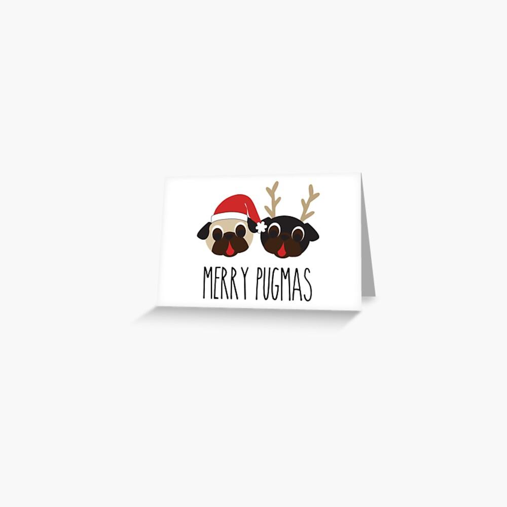 Merry Pugmas Santa & Reindeer Pugs Pattern 2 Greeting Card
