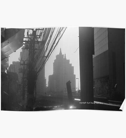 bangkok morning (black and white) Poster