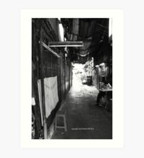 back alley life (black and white) Art Print
