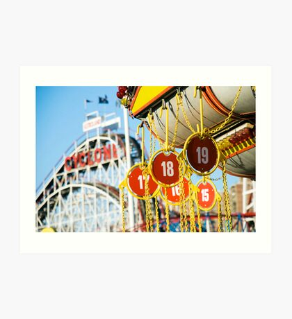Coney Island Astroland and Cyclone: Brooklyn, NYC Art Print