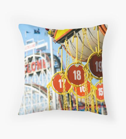 Coney Island Astroland and Cyclone: Brooklyn, NYC Throw Pillow