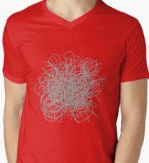 Black and white tangled wires Mens V-Neck T-Shirt