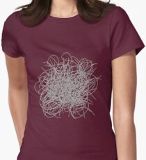 Black and white tangled wires Womens Fitted T-Shirt