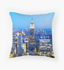 Empire State Building at Night: NYC Throw Pillow
