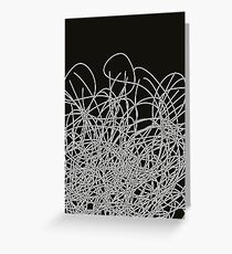 Black and white tangled wires Greeting Card