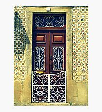 Wooden door with swirly white railings, Tomar, Portugal Photographic Print