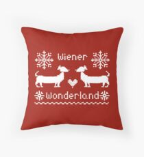 Wiener Wonderland in Festive Red - Dachshund Sausage Dog Throw Pillow