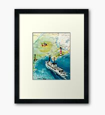 USCGC CHASE Helicopter Lighthouse Map Cathy Peek Framed Print