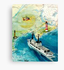 USCGC CHASE Helicopter Lighthouse Map Cathy Peek Canvas Print