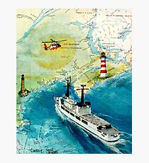 USCGC CHASE Helicopter Lighthouse Map Cathy Peek Photographic Print
