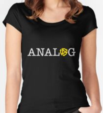 ANALOG white logotype with yellow 45 r.p.m. vinyl spindle insert for the 'O' Women's Fitted Scoop T-Shirt