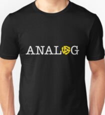 ANALOG white logotype with yellow 45 r.p.m. vinyl spindle insert for the 'O' Unisex T-Shirt
