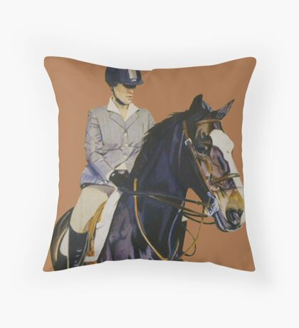 Concentration - Hunter Jumper Horse & Rider Throw Pillow