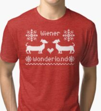 Wiener Wonderland in Festive Red - Dachshund Sausage Dog Tri-blend T-Shirt